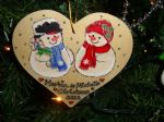 snowman Man Lady Couple Wooden Christmas Heart Hanger Decoration Personalised Any Names Shabby Chic Personalised